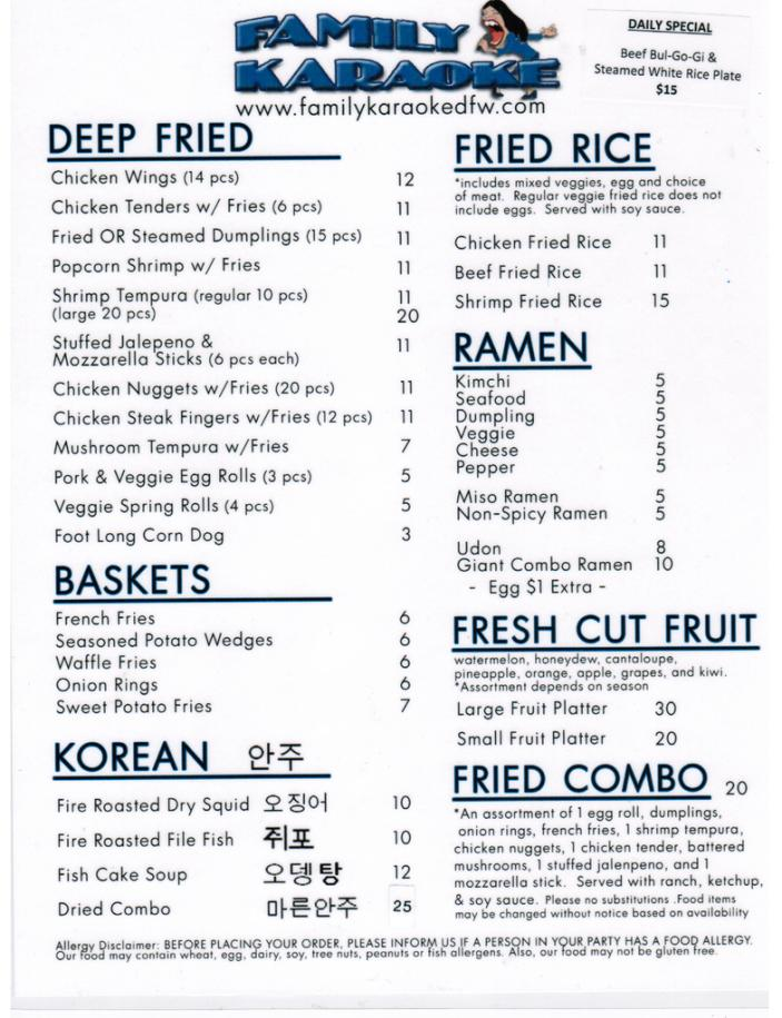 Example of the menu.  Menu has changed.  WINGS ARE 8 pieces.   Do not use this for pricing, just as an example of our menu as it changes weekly.